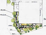 この図面は西側植栽の参考例です。平面図左側が西で、ここに駐車スペースがあります。